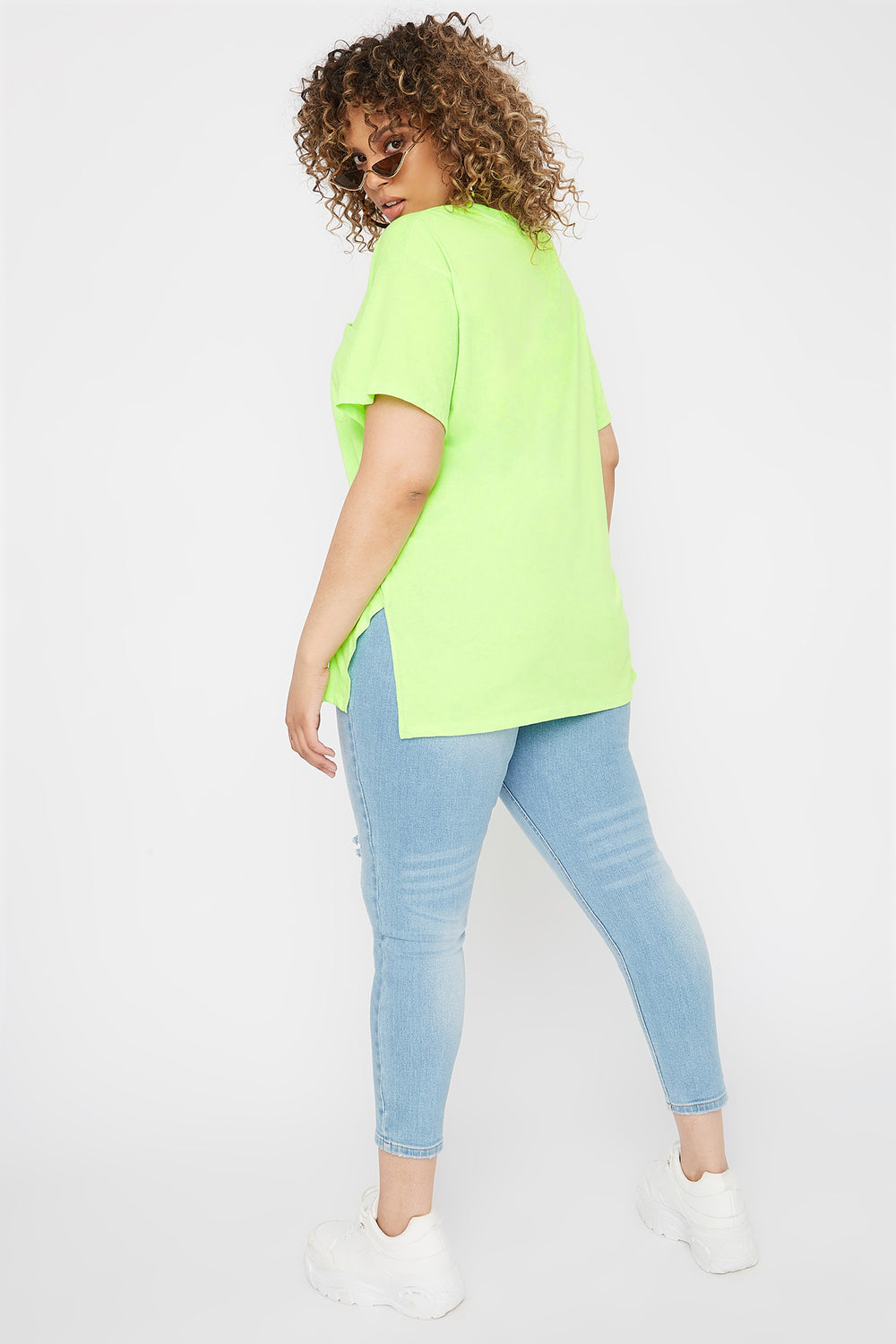 Plus Size Oversized Pocket T-Shirt Neon Green