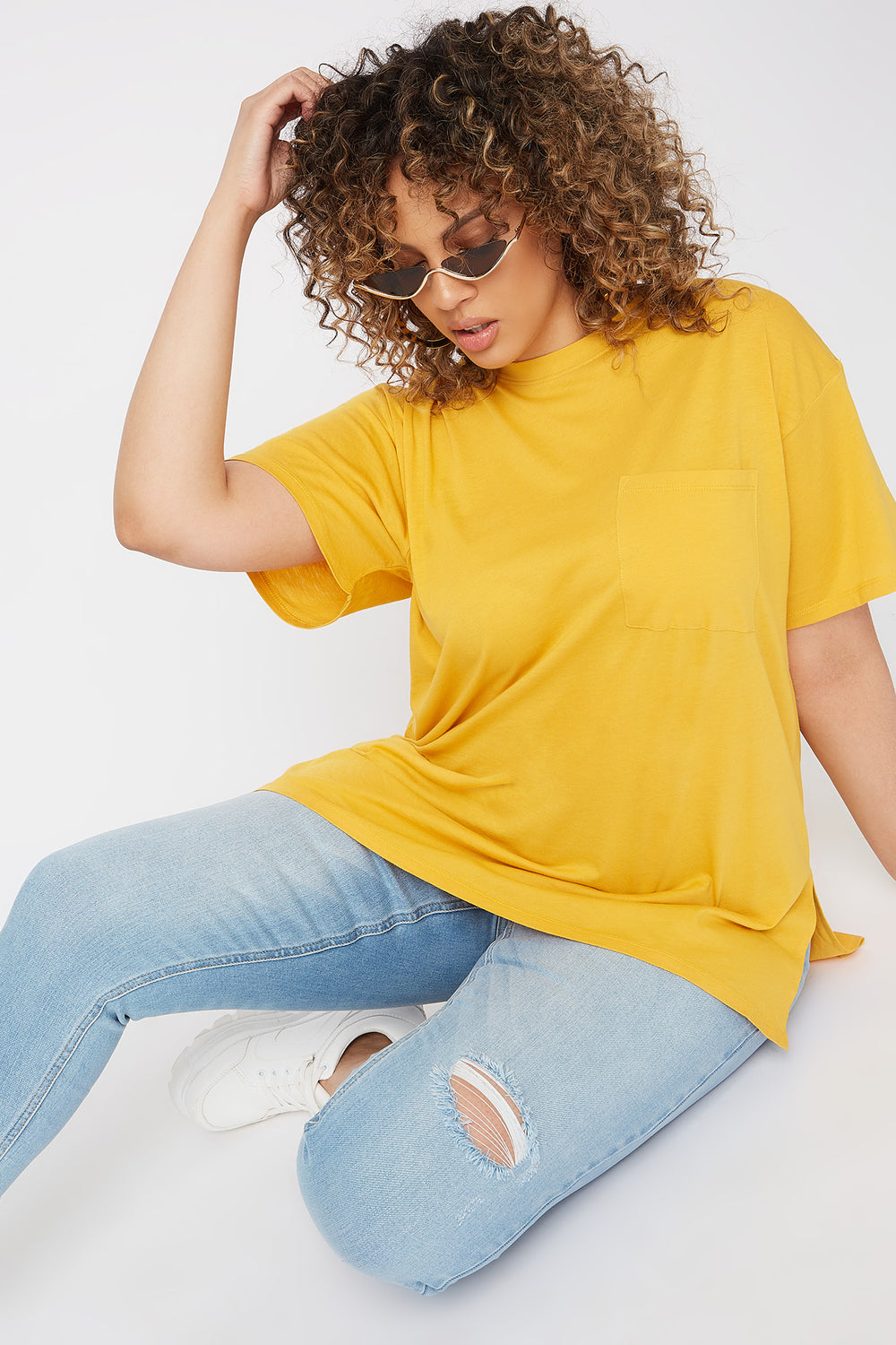 Plus Size Oversized Pocket T-Shirt Mustard