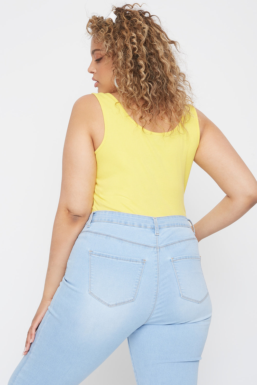 Plus Size Ribbed Lace-Up Sleeveless Bodysuit Yellow