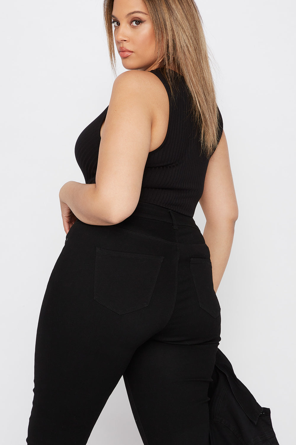 Plus Size Ribbed V-Neck Bodysuit Black
