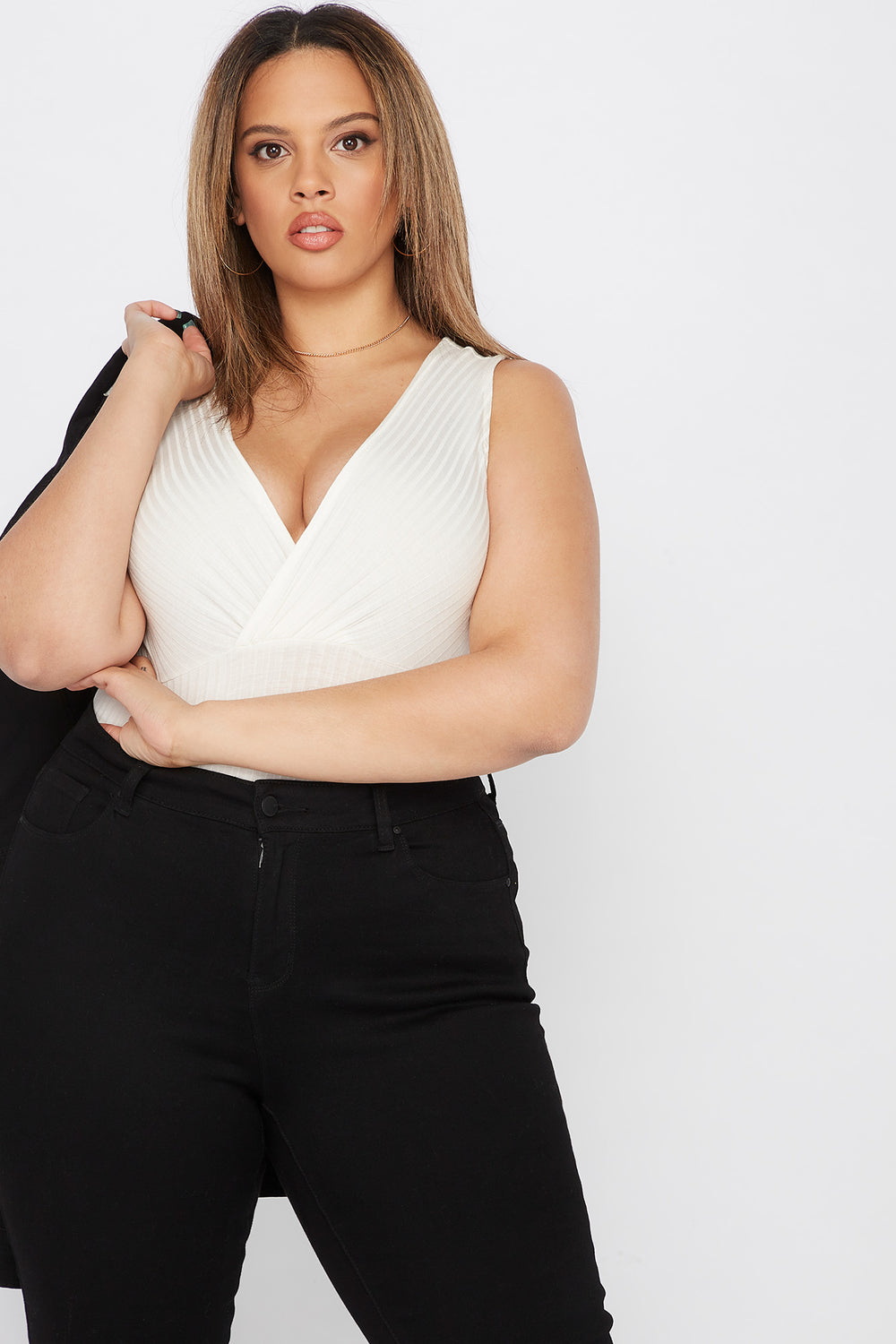 Plus Size Ribbed V-Neck Bodysuit Off White