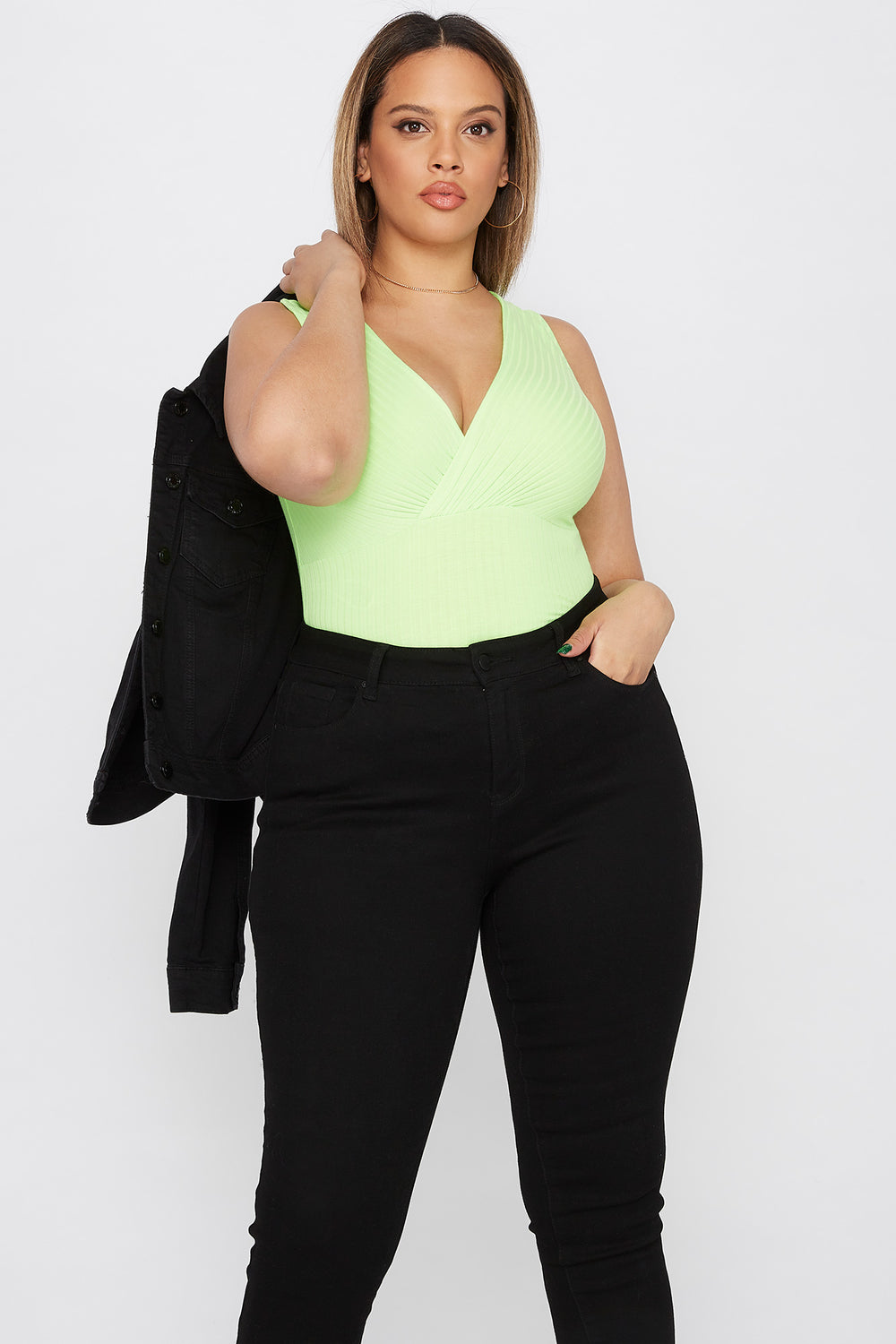 Plus Size Ribbed V-Neck Bodysuit Neon Green