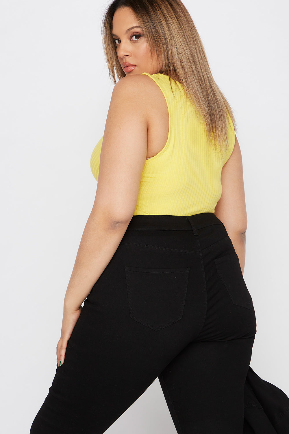 Plus Size Ribbed V-Neck Bodysuit Yellow
