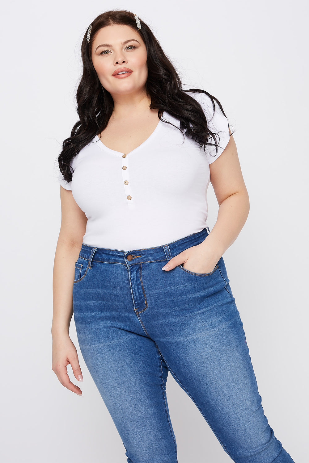 Plus Size Tulip Sleeve V-Neck Button Bodysuit White