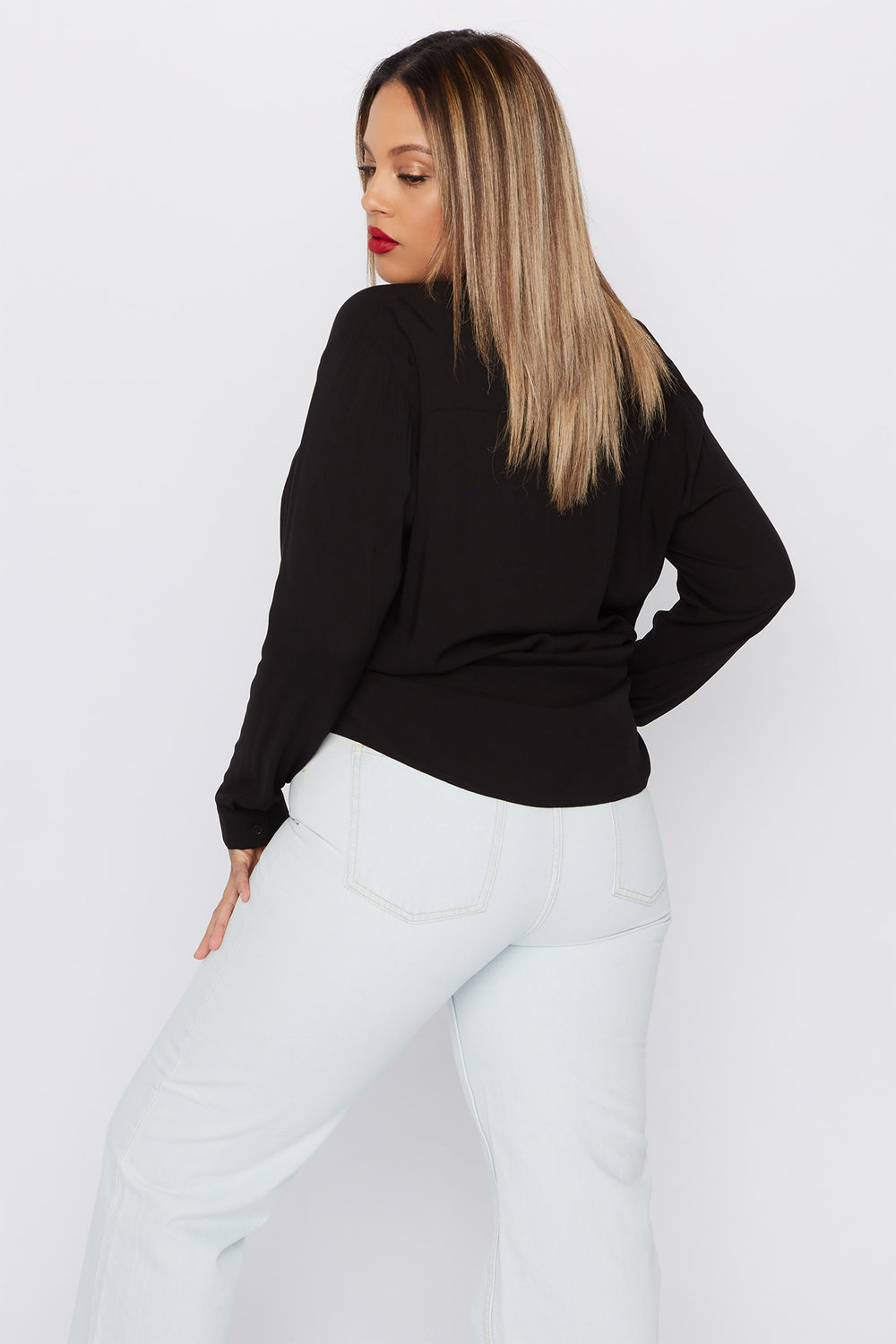 Plus Size Button-Up Long Sleeve Shirt Black