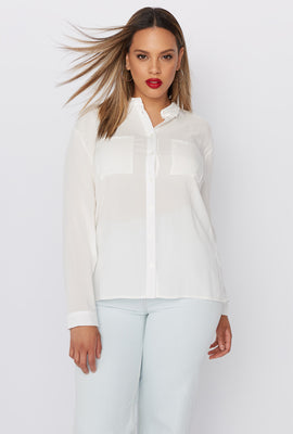 Plus Size Button-Up Long Sleeve Shirt