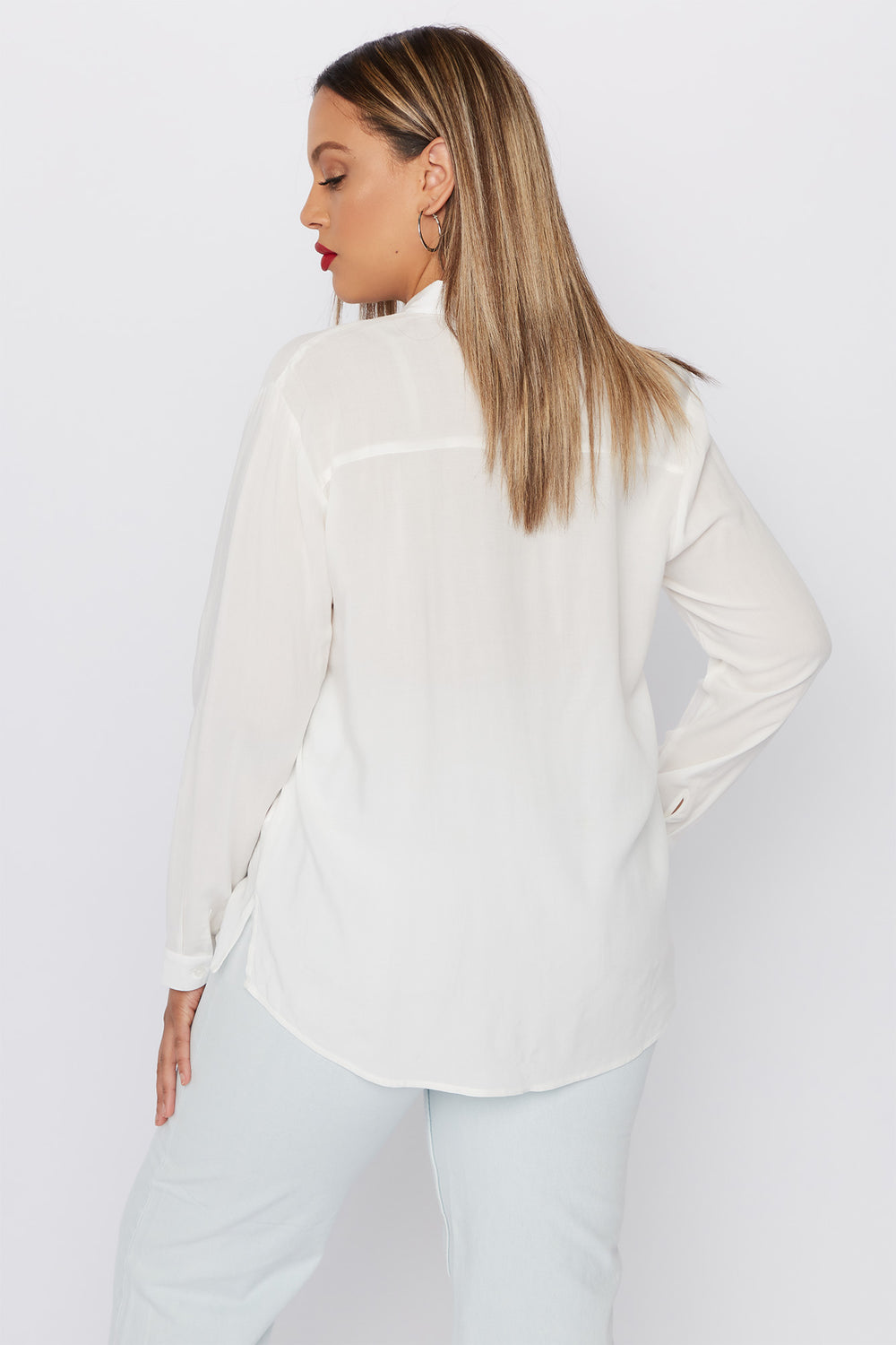 Plus Size Button-Up Long Sleeve Shirt Off White