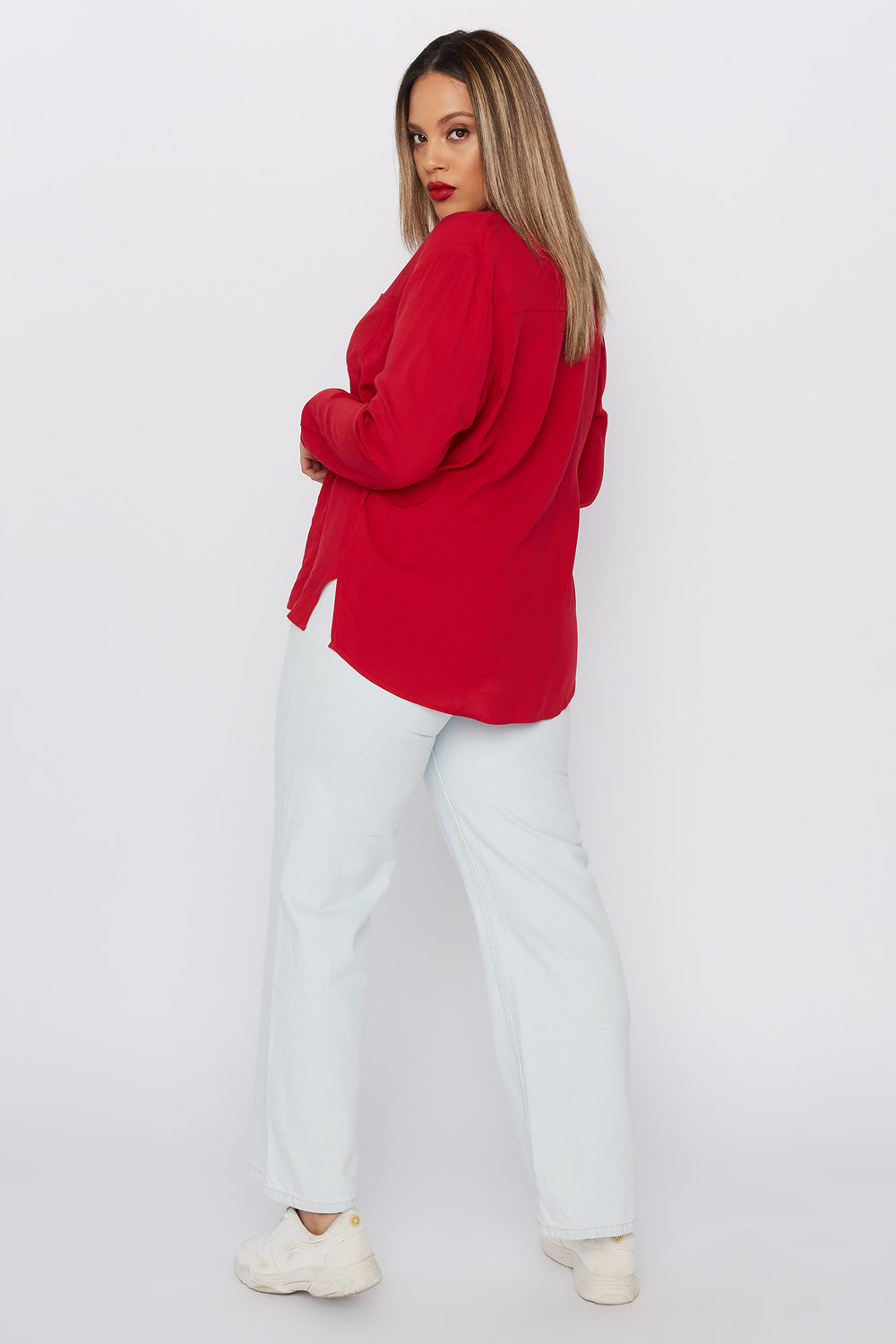 Plus Size Button-Up Long Sleeve Shirt Red