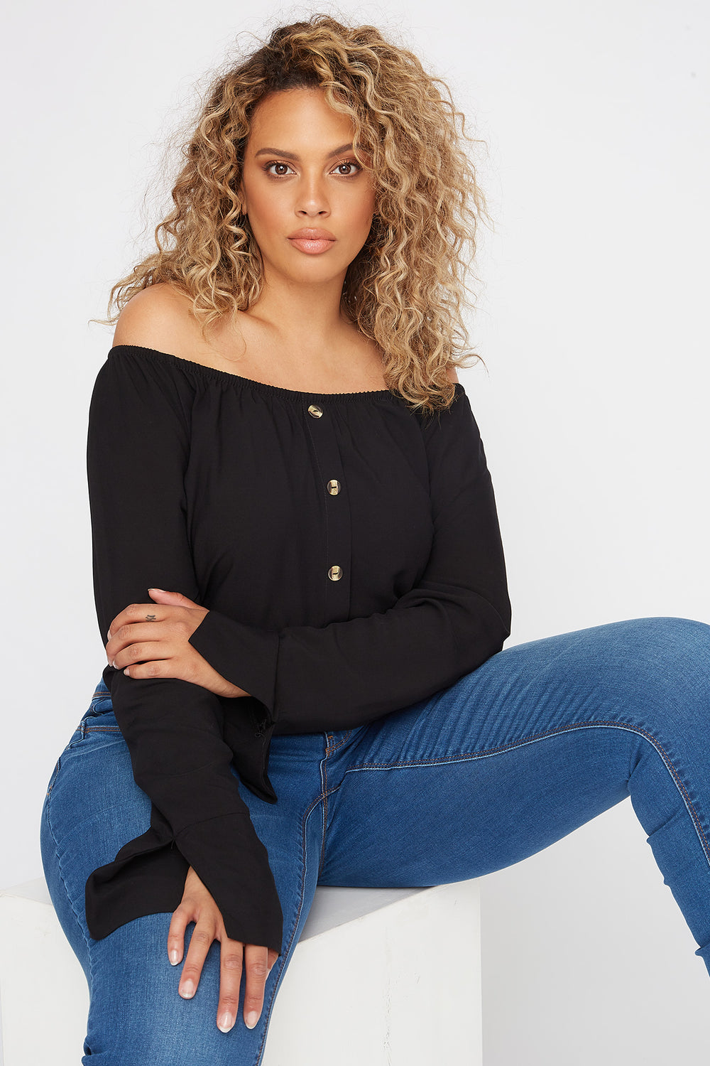 Plus Size Off the Shoulder Button Shirt Black