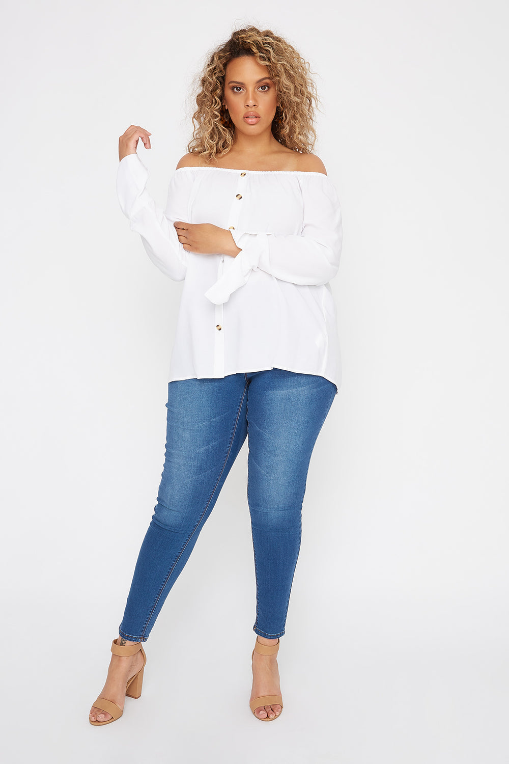 Plus Size Off the Shoulder Button Shirt Off White