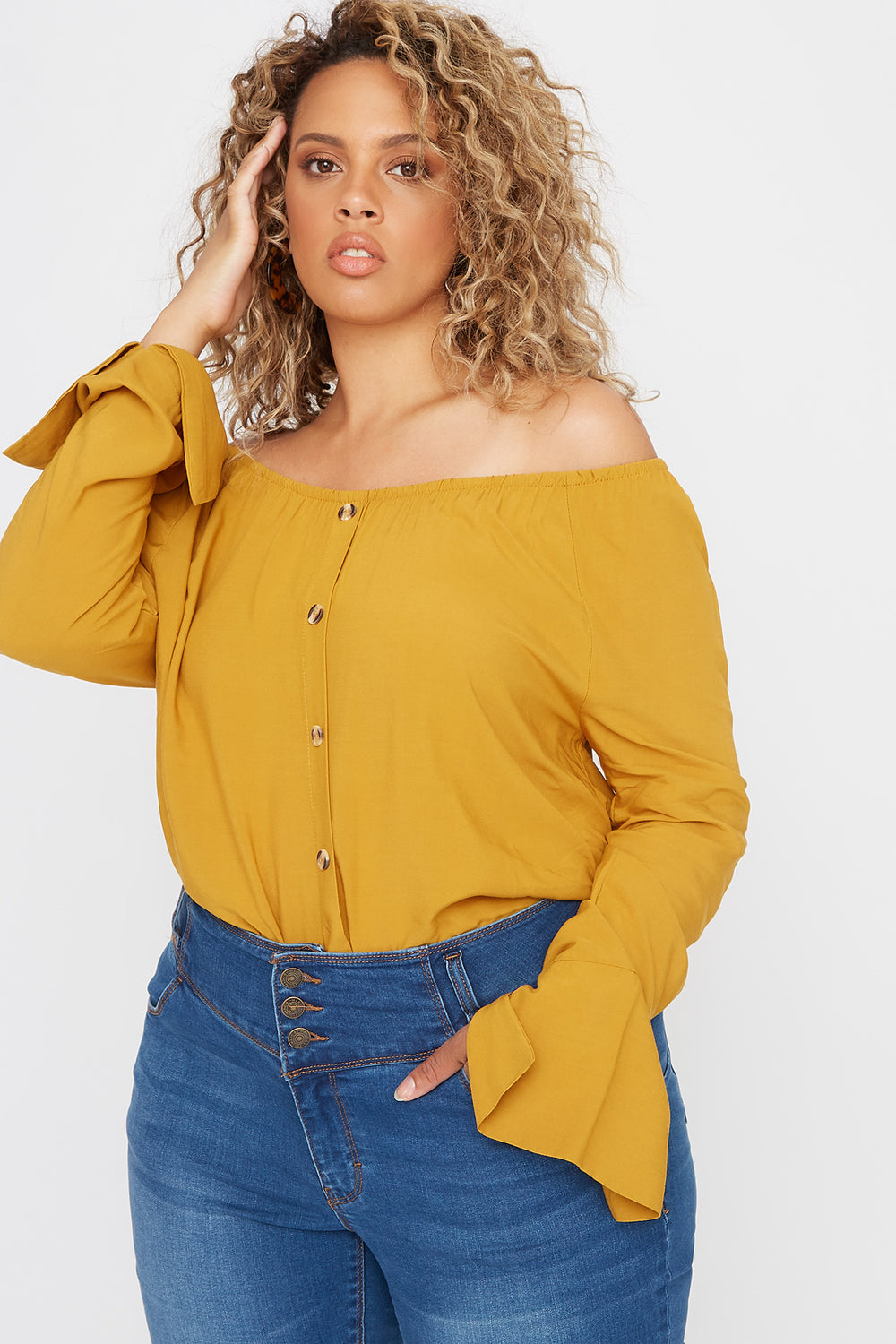 Plus Size Off the Shoulder Button Shirt Mustard