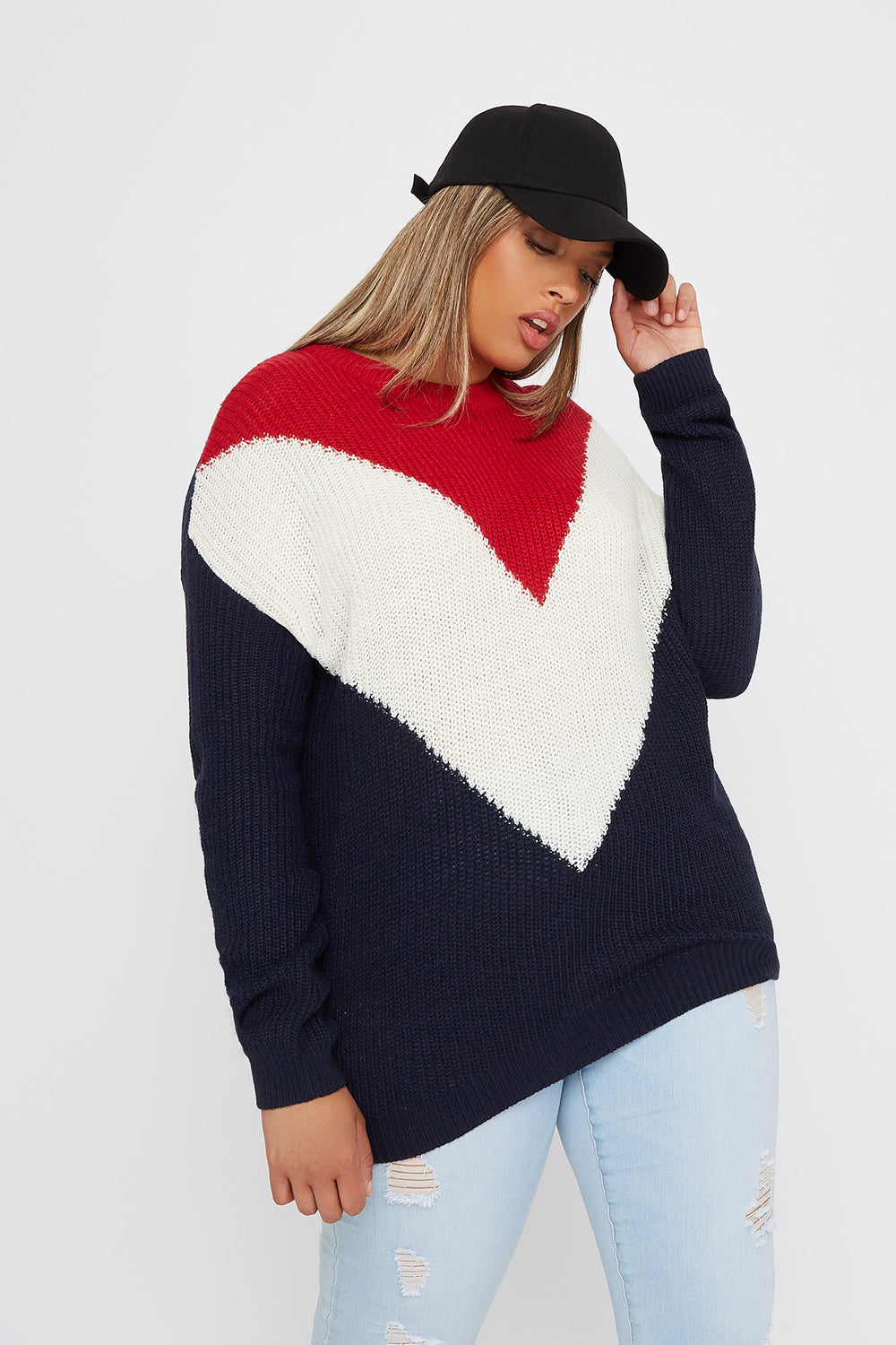 Plus Size Crochet Chevron Colour Block Sweater Red