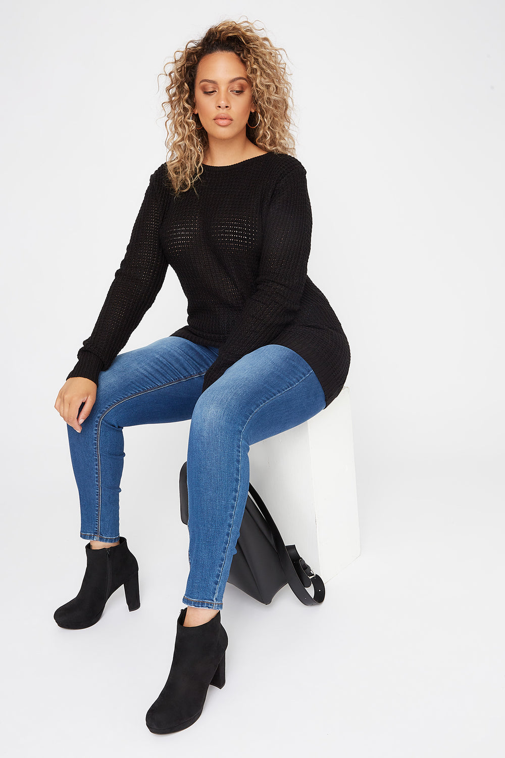 Plus Size Crochet Cross Back Sweater Black