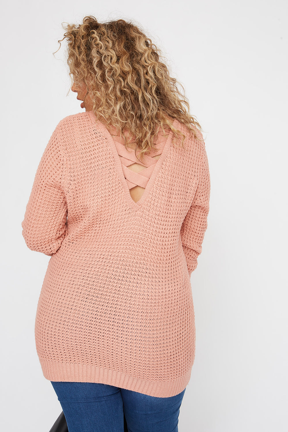 Plus Size Crochet Cross Back Sweater Mauve
