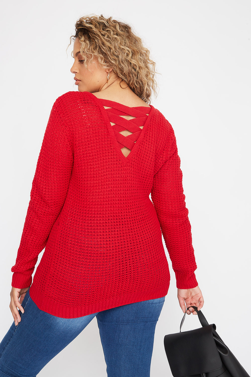 Plus Size Crochet Cross Back Sweater Red