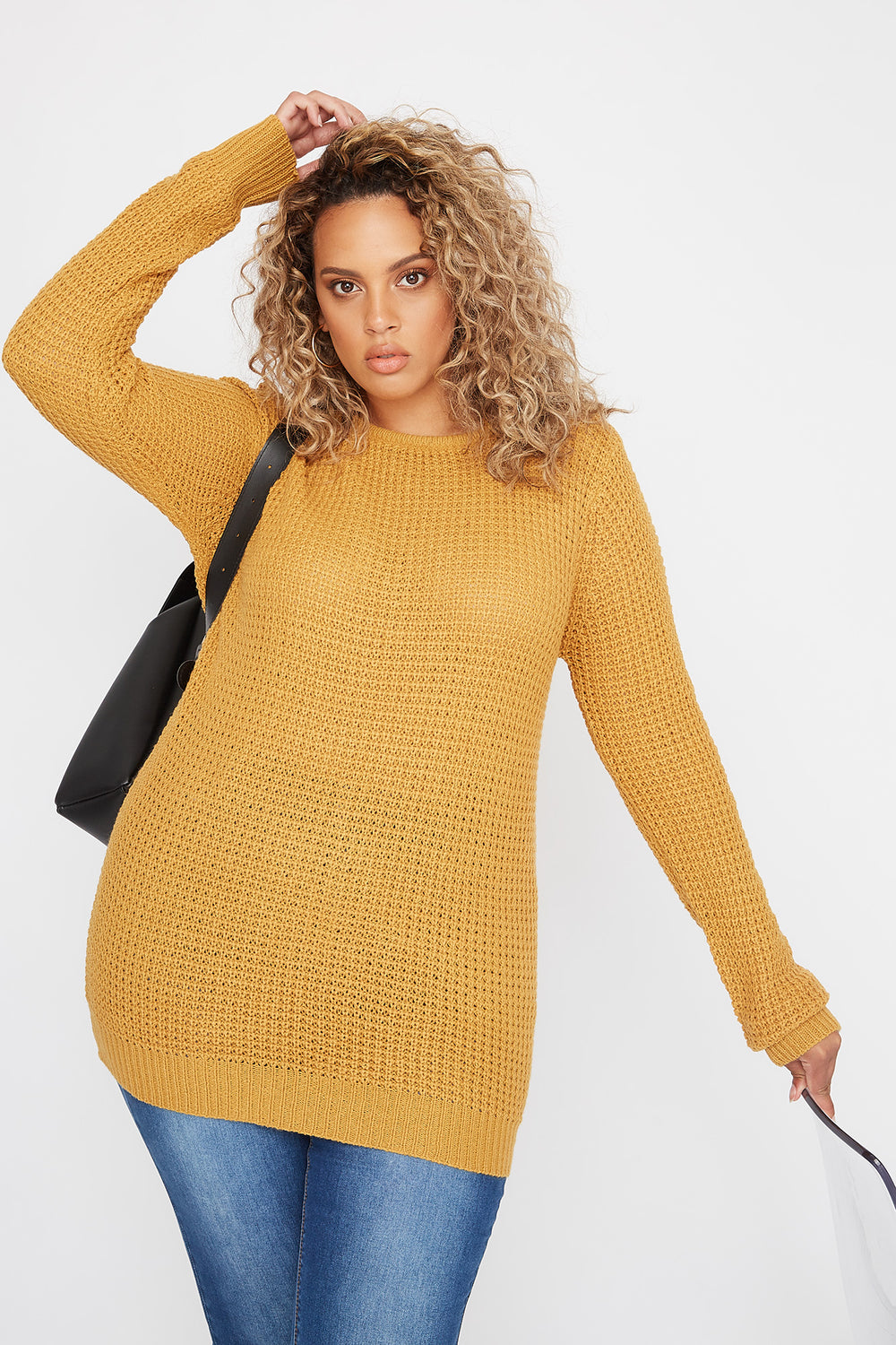 Plus Size Crochet Cross Back Sweater Mustard