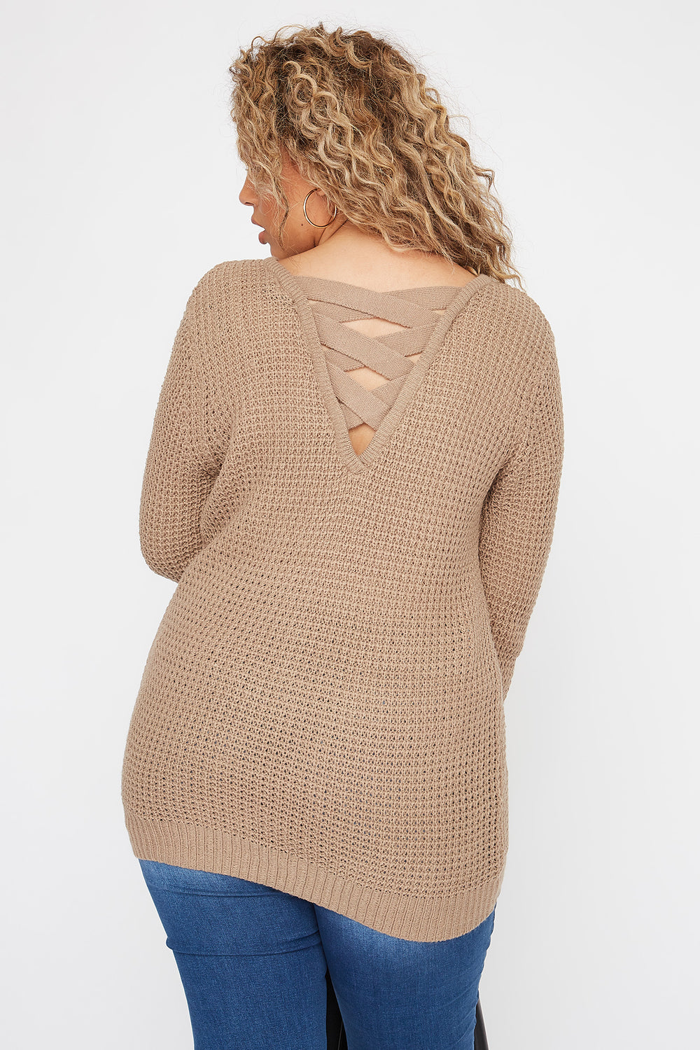 Plus Size Crochet Cross Back Sweater Khaki