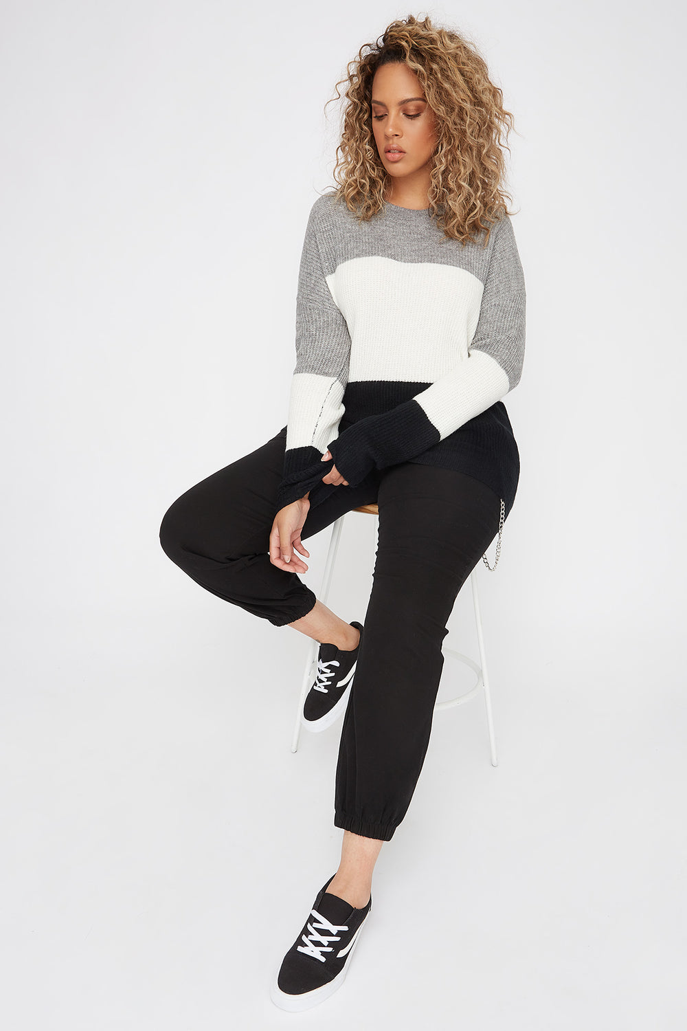 Plus Size Brushed Knit Colour Block Sweater Heather Grey