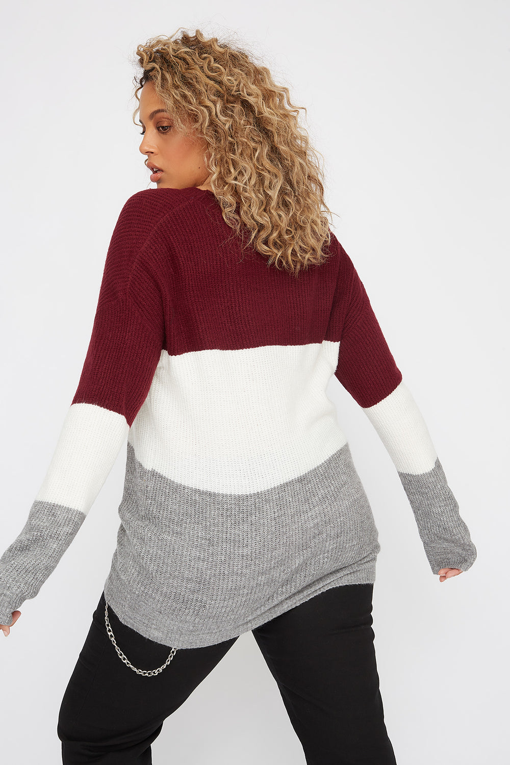 Plus Size Brushed Knit Colour Block Sweater Burgundy