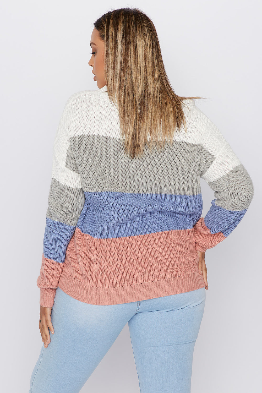 Plus Size Crochet Colour Block Sweater Ivory