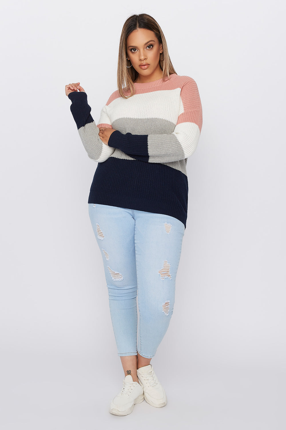 Plus Size Crochet Colour Block Sweater Mauve