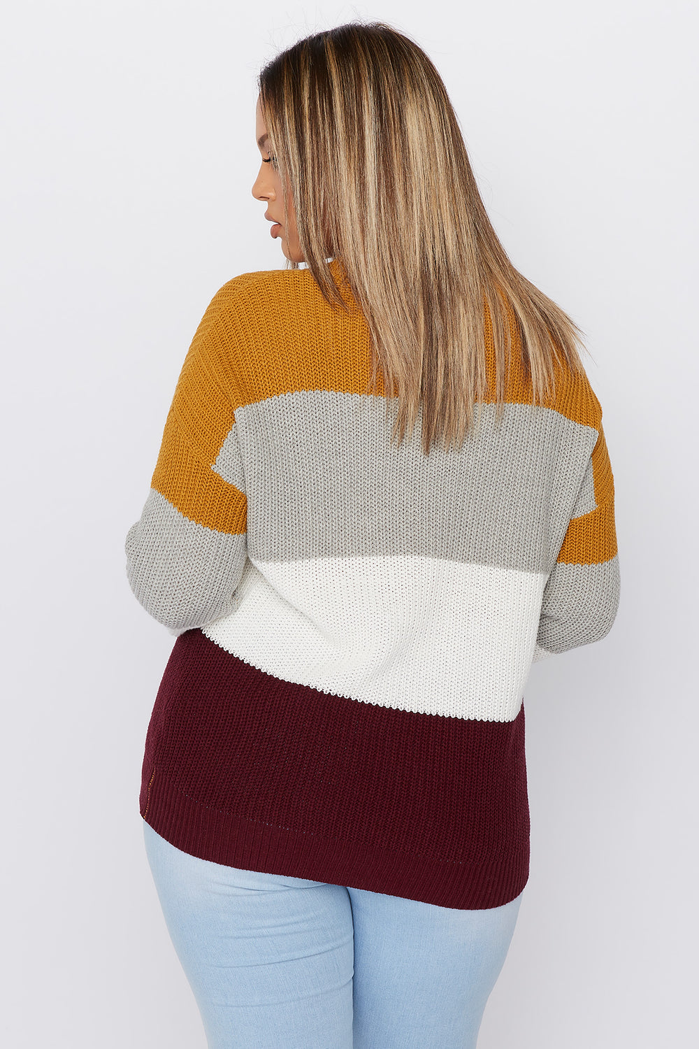Plus Size Crochet Colour Block Sweater Mustard