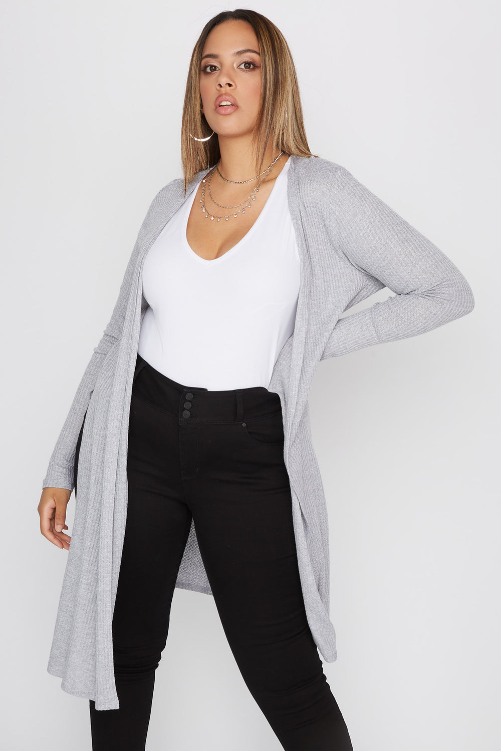Plus Size Waffle Knit Slit Longline Cardigan Heather Grey