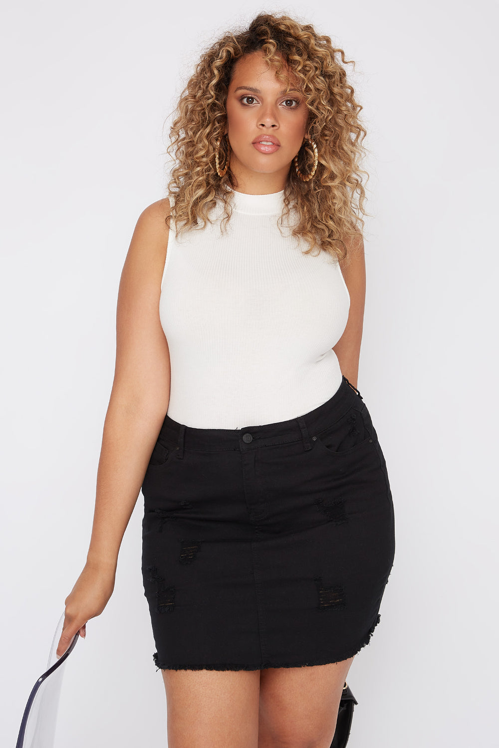Plus Size Distressed Denim Mini Skirt Black