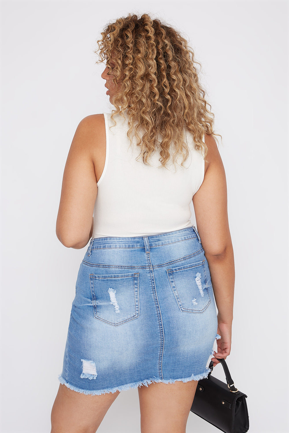 Plus Size Distressed Denim Mini Skirt Light Denim Blue
