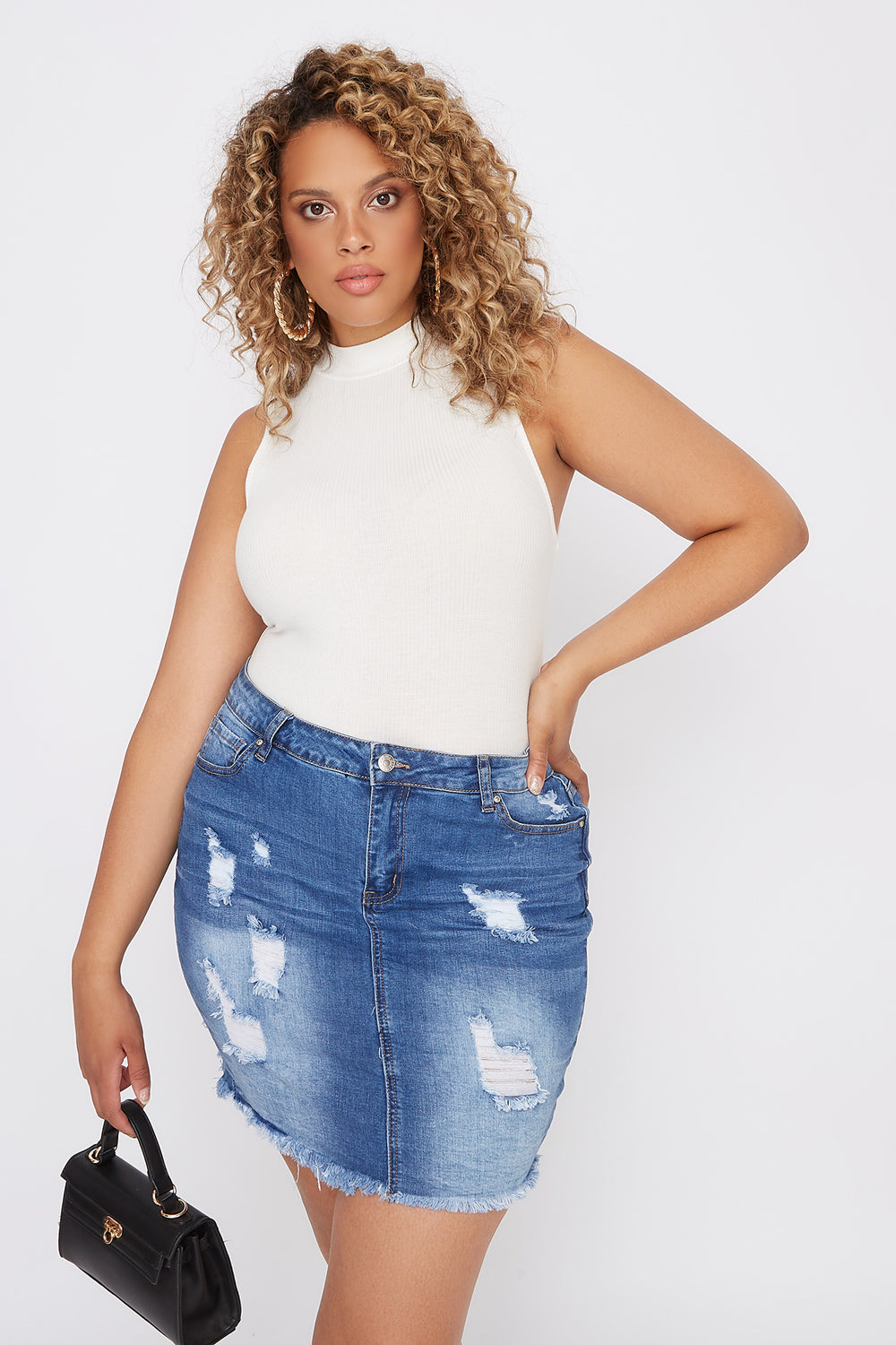 Plus Size Distressed Denim Mini Skirt Medium Blue