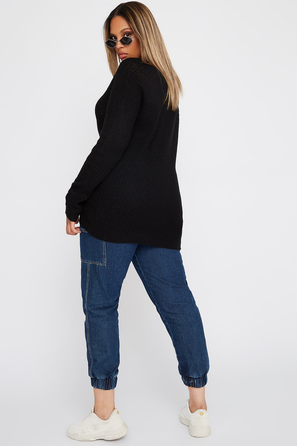 Plus Size Crochet Crew Neck Longline Sweater Black