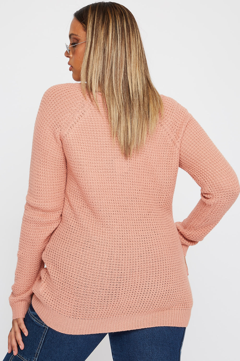 Plus Size Crochet Crew Neck Longline Sweater Mauve