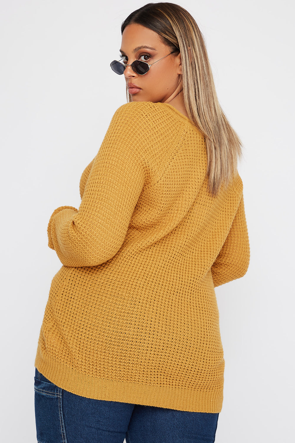 Plus Size Crochet Crew Neck Longline Sweater Mustard