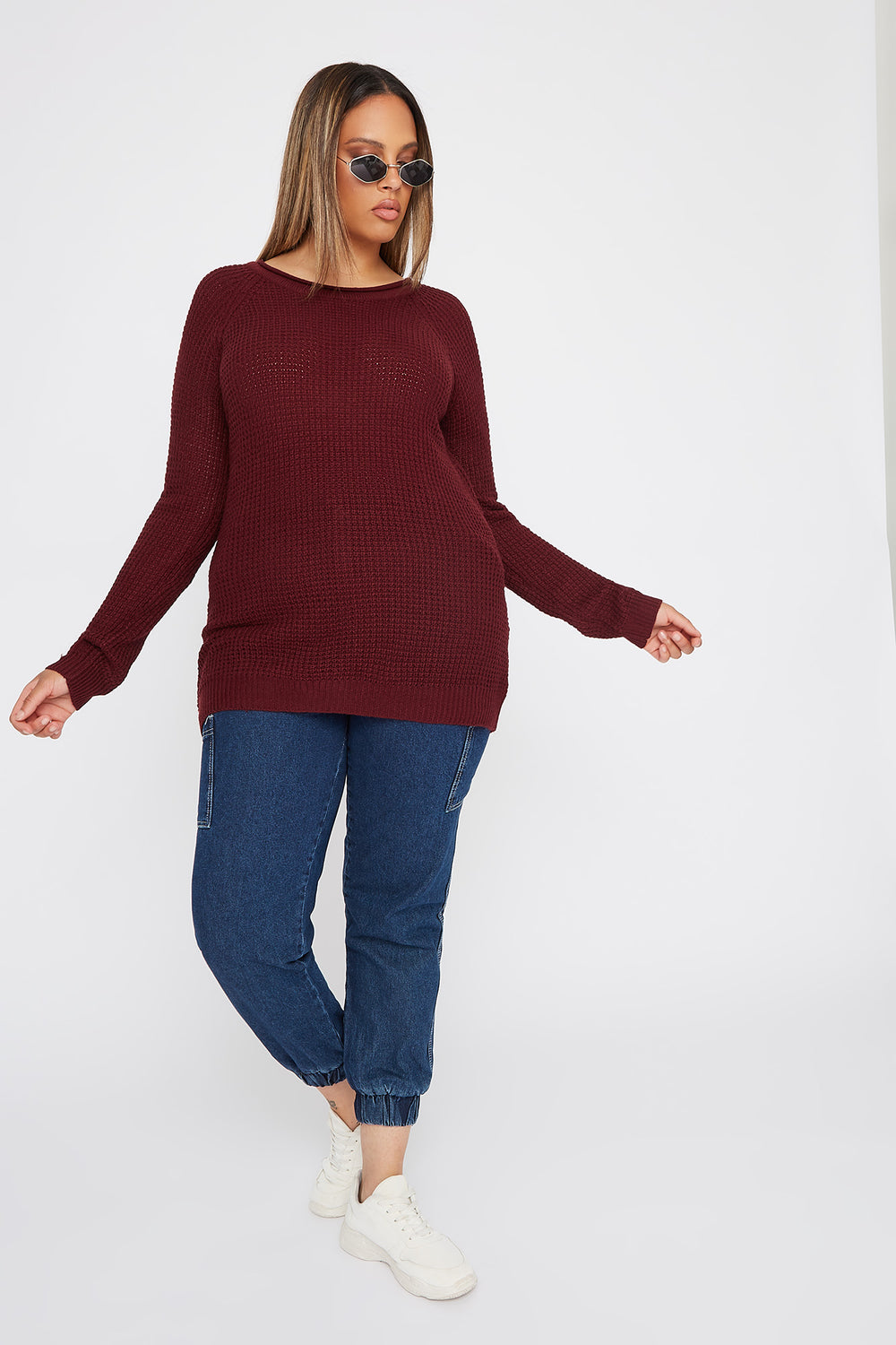 Plus Size Crochet Crew Neck Longline Sweater Burgundy
