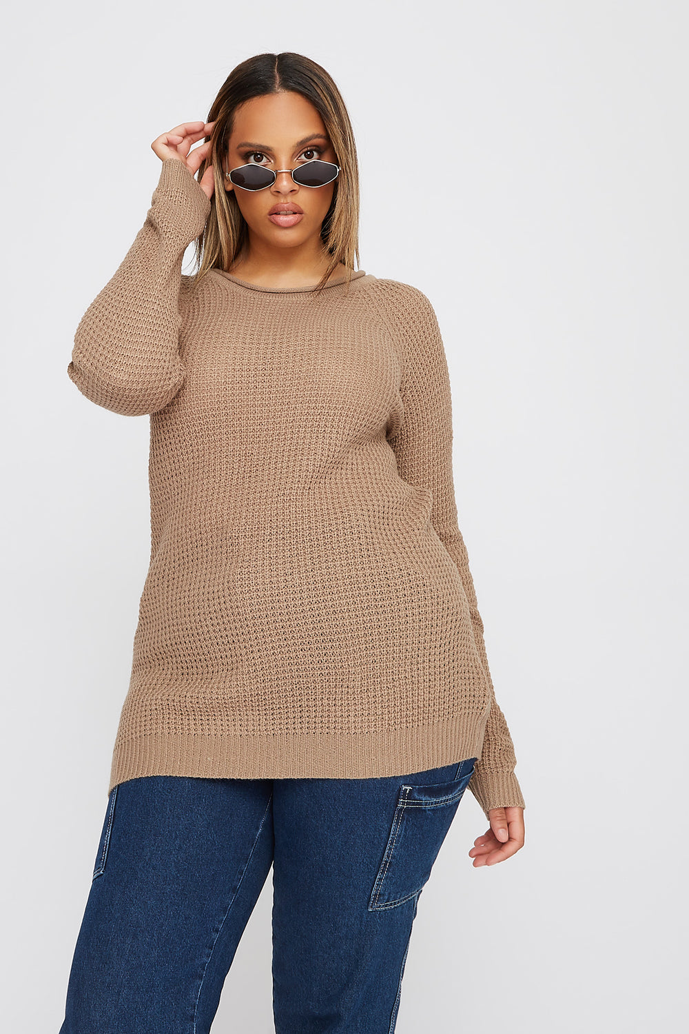 Plus Size Crochet Crew Neck Longline Sweater Khaki