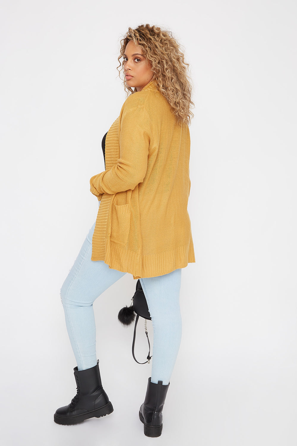 Plus Size Open-Front Knit Cardigan Mustard