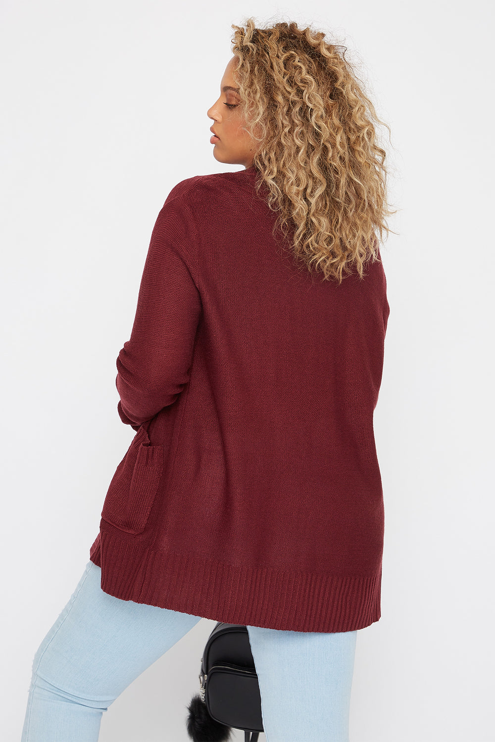 Plus Size Open-Front Knit Cardigan Burgundy