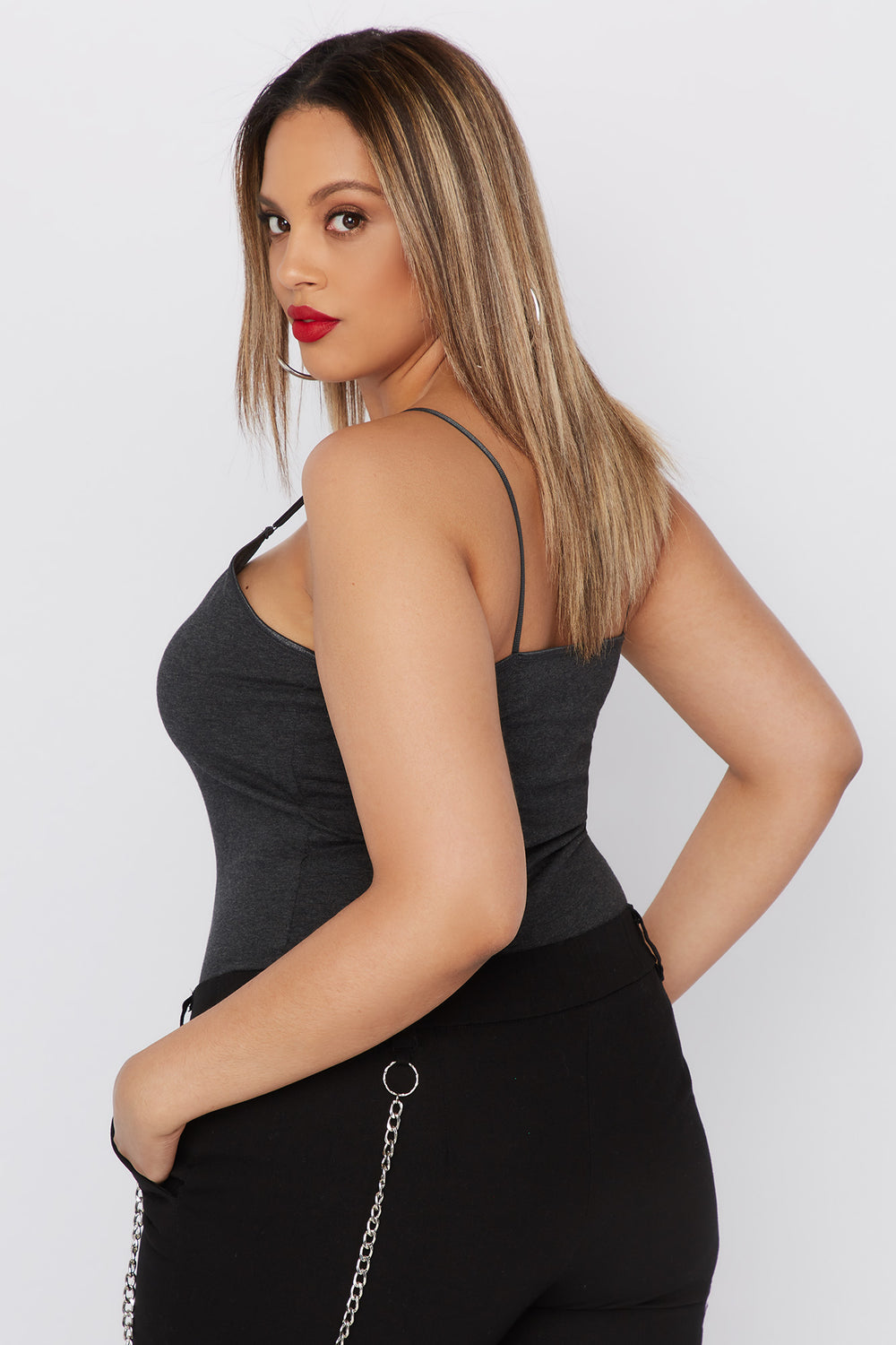 Plus Size Bra Camisole Charcoal