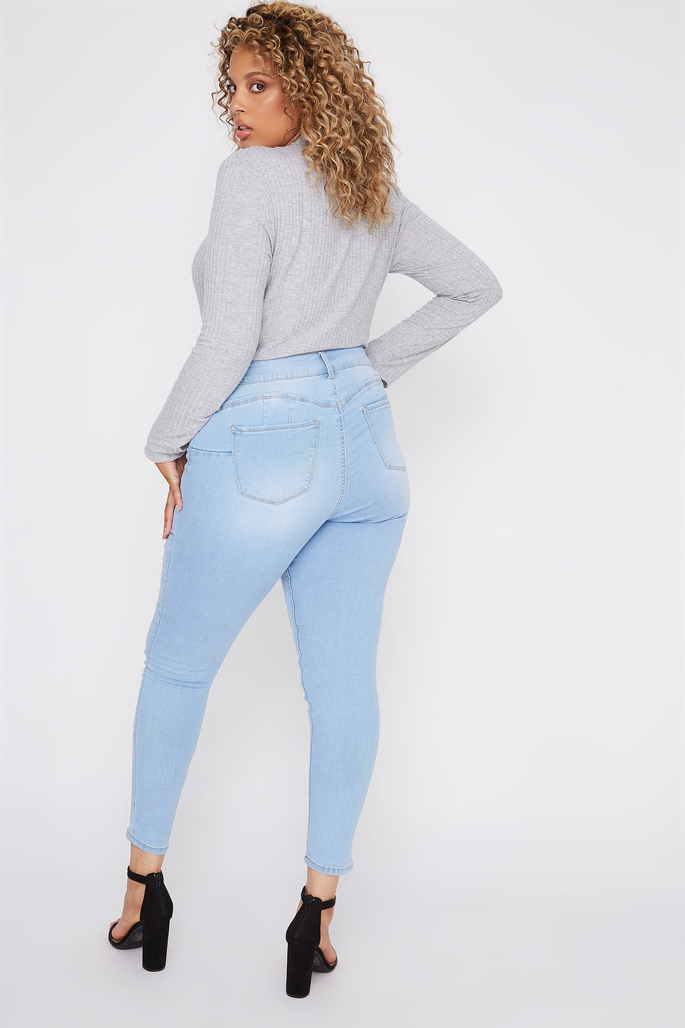 Plus Size Butt, I Love You 6-Tier High-Rise Push-Up Skinny Jean Light Denim Blue