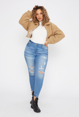 Plus Size Butt, I Love You High-Rise Distressed Push-Up Skinny Jean