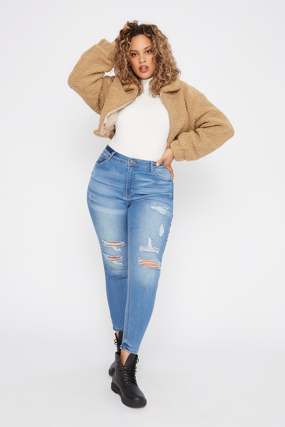 Plus Size Butt, I Love You High-Rise Distressed Push-Up Skinny Jean Light Denim Blue