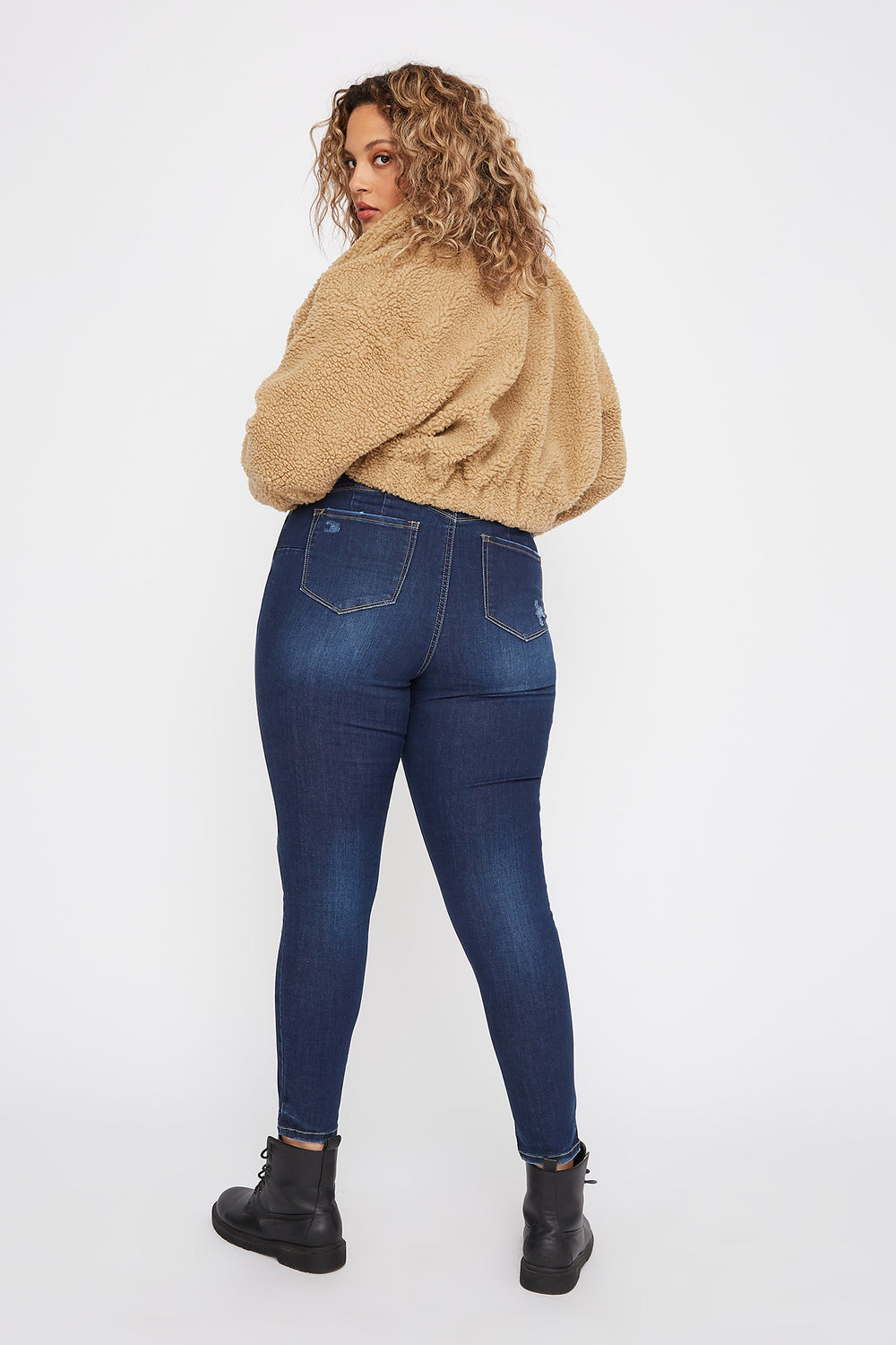 Plus Size Butt, I Love You High-Rise Distressed Push-Up Skinny Jean Dark Blue