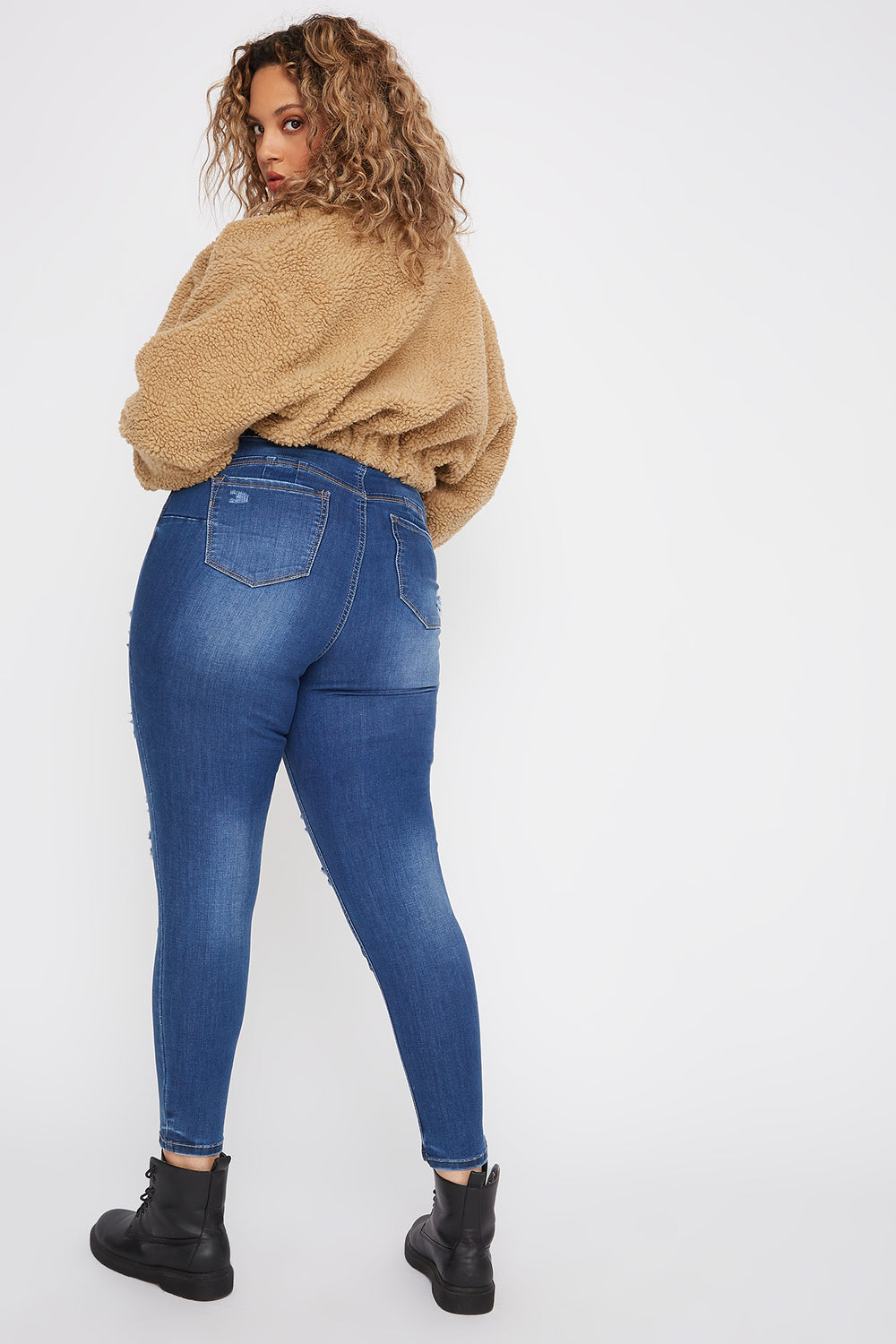 Plus Size Butt, I Love You High-Rise Distressed Push-Up Skinny Jean Medium Blue