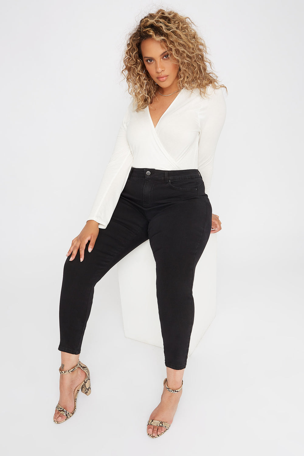 Plus Size Butt, I Love You High-Rise Tulip Push-Up Skinny Jean Black