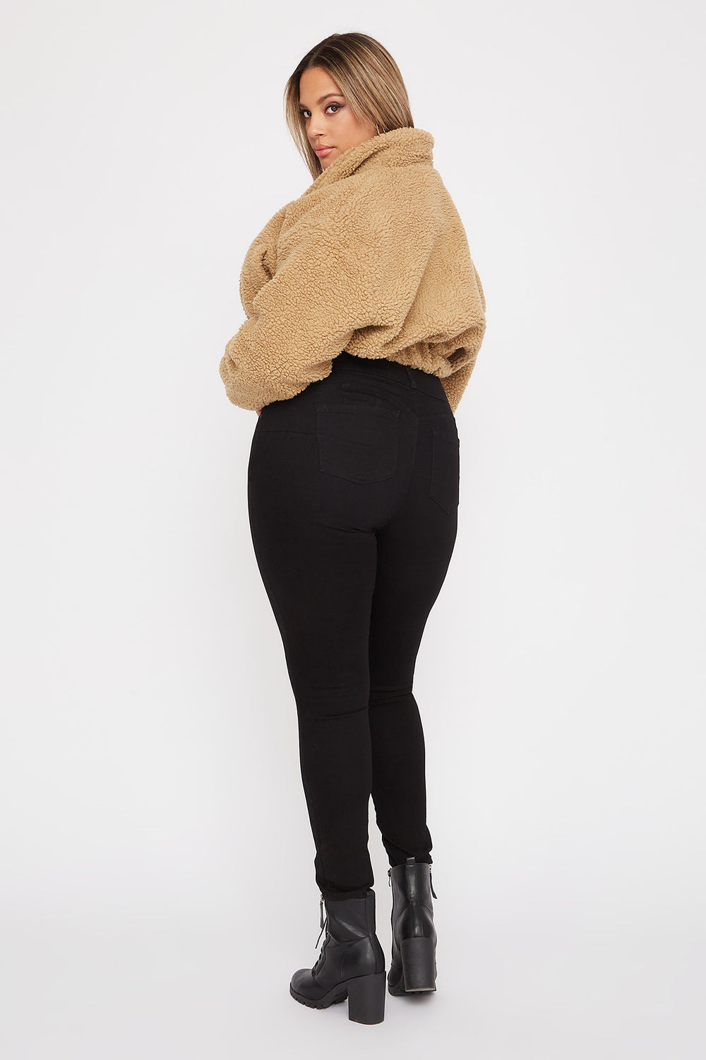 Plus Size Butt, I Love You 3-Tier High-Rise Push-Up Skinny Jean Black