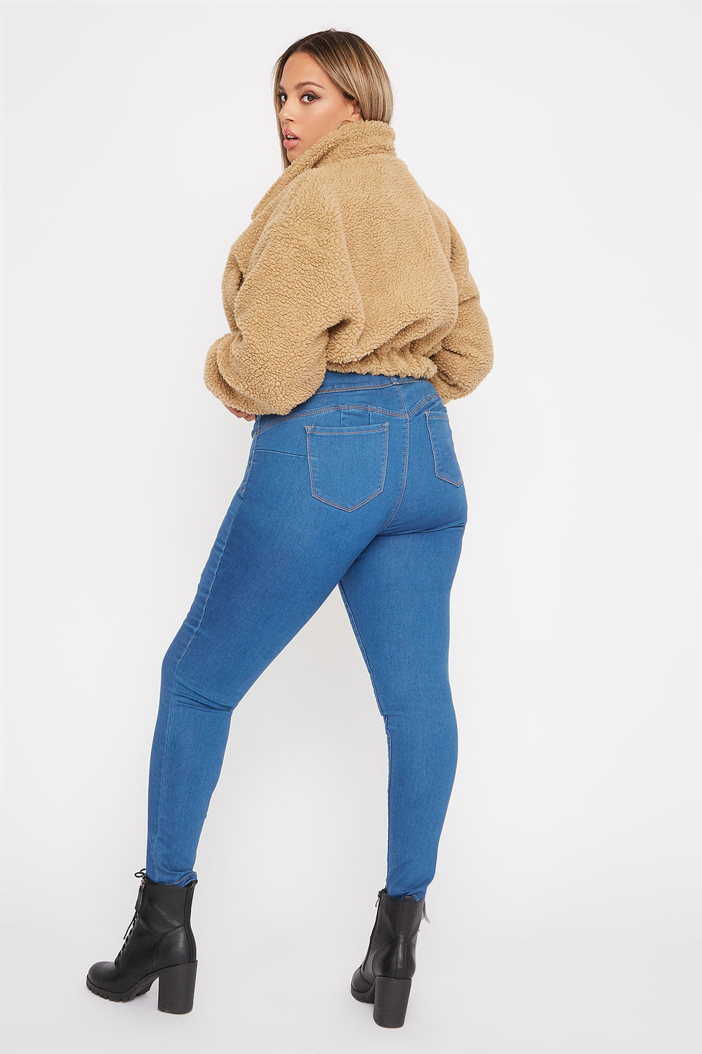 Plus Size Butt, I Love You 3-Tier High-Rise Push-Up Skinny Jean Denim Blue