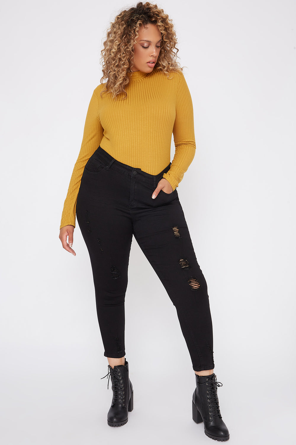 Plus Size Butt, I Love You High-Rise Distressed Push-Up Cropped Skinny Jean Black