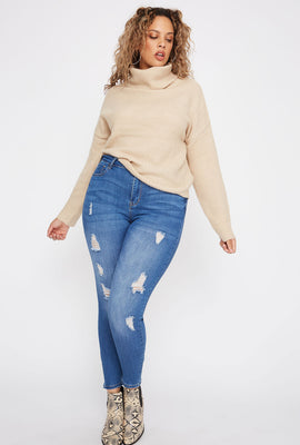 Plus Size High-Rise Distressed Skinny Jean