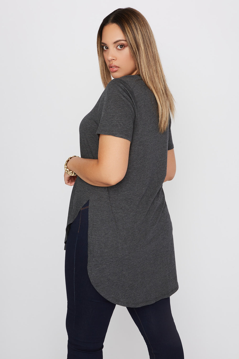 Plus Size Oversized Slit Dolphin T-Shirt Charcoal