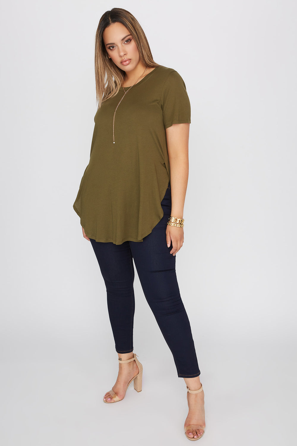 Plus Size Oversized Slit Dolphin T-Shirt Green